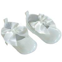 B2228-W: White Shiny PU Shoes (0-12 Months)