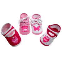B50-G-N: Baby Girls Terry Cotton Shoes (0-4 Months)