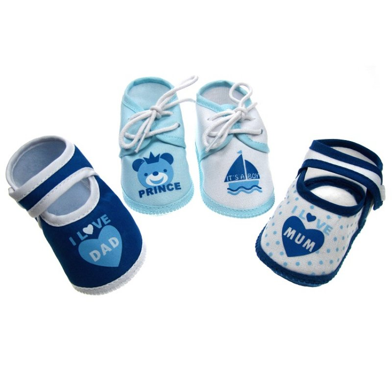 B51-B: Baby Boys Terry Cotton Shoes (0-4 Months)