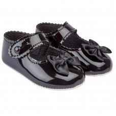 B604: Baby Girls Soft Soled Shoe-Black (Shoe Sizes: 0-3)