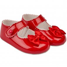 B604: Baby Girls Soft Soled Shoe- Red (Shoe Sizes: 0-4)
