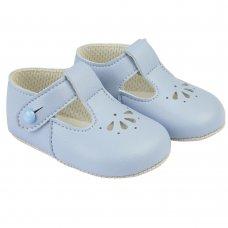 B617: Baby Soft Soled Shoe- Sky (Shoe Sizes: 0-4)
