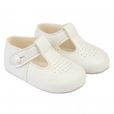 B625: Baby Soft Soled Shoe- White (Shoe Sizes: 0-4)
