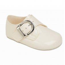 B656: Baby Boys Soft Soled Shoe- Ivory (Shoe Sizes: 0-4)