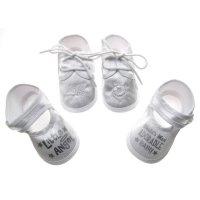 B704: White Satin Shoes (0-4 Months)