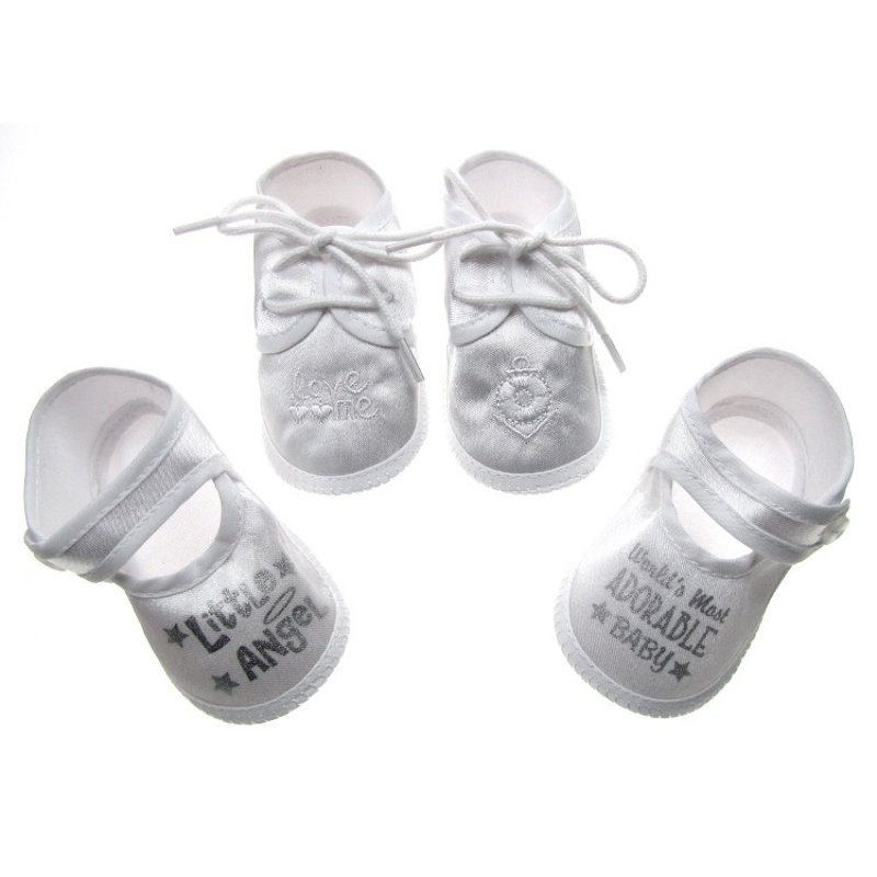 B704: White Satin Shoes (0-4 Months)