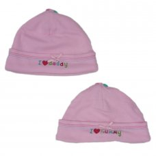 "B8915: Baby Girls ""I Love"" Motif Cotton Hat (3-12 Months)"