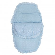 Deluxe Broderie Anglaise Footmuff/ Cosytoe: Blue