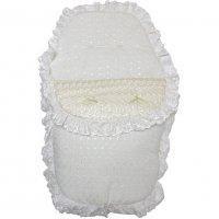 Deluxe Broderie Anglaise Footmuff/ Cosytoe: Cream