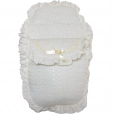 Standard Broderie Anglaise Footmuff/ Cosytoe: Cream
