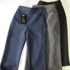Girls Elastic Back Front No Zip School Trouser- Black