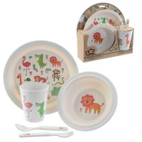 BAMB01: Eco-Friendly Animals Biodegradable Bamboo Plate/Cutlery Set