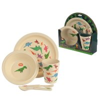 BAMB15: Eco-Friendly Dinosaur Biodegradable Bamboo Plate/Cutlery Set
