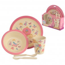 BAMB16: Eco-Friendly Princess Biodegradable Bamboo Plate/Cutlery Set