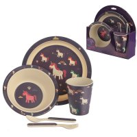 BAMB17: Eco-Friendly Unicorn Biodegradable Bamboo Plate/Cutlery Set