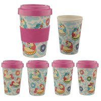 BAMB27: Enchanted Rainbows Unicorn Bamboo Reusable Screw Top Travel Cup