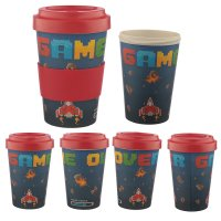 BAMB31: Game Over Bamboo Reusable Screw Top Travel Cup