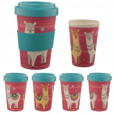 BAMB33: Llama Bamboo Reusable Screw Top Travel Cup