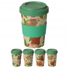 BAMB35: Sloth Bamboo Reusable Screw Top Travel Cup