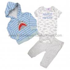 BB0291: Baby Boys Shark Hooded Jacket, Bodysuit & Trouser Set (3-9 Months)