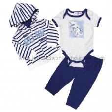 BB0293: Baby Boys Dino Hooded Jacket, Bodysuit & Trouser Set (3-9 Months)