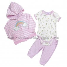 BB0294: Baby Girls Rainbow Hooded Jacket, Bodysuit & Trouser Set (3-9 Months)
