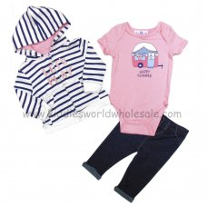 BB0295: Baby Girls Lets Play Hooded Jacket, Bodysuit & Trouser Set (3-9 Months)