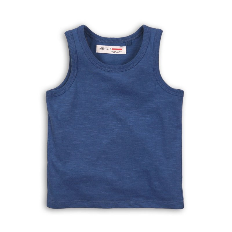 BBS61: blue slub vest top (1-3 Years)