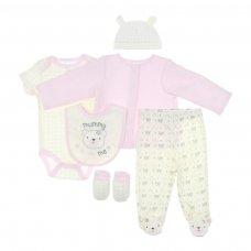 BG102: Girls 6 Piece Garment Set (NB-6 Months)