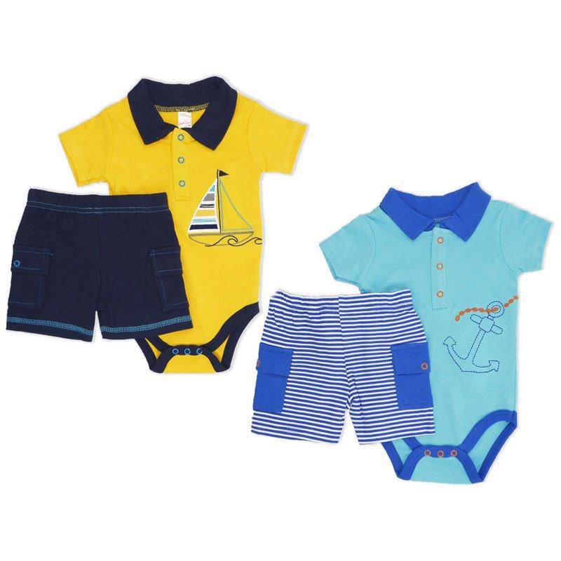 BG112: Boys Bodysuit & Shorts Set (NB-9 Months)