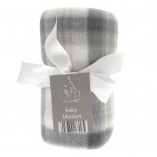 BIT087172: Elli & Raff Check Design Fleece Buggy Blanket