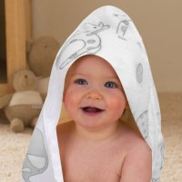 BIT125140: Elli & Raff And Bunnies Baby Hooded Towel