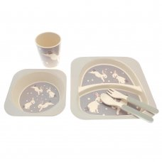 BIT185472: 5 Piece Rabbit Design Bamboo Dinner Set