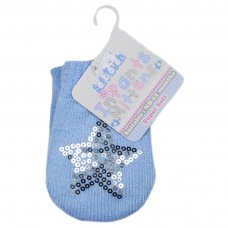 BM06-B: Blue Mittens w/Star Sequins (NB-12 Months)