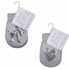 BM06-G: Grey Mittens w/Star/Heart Sequins (NB-12 Months)