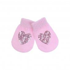 BM06-P: Pink Mittens w/Heart Sequins (NB-12 Months)