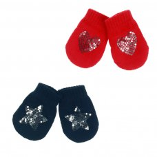 BM06-RN: Navy & Red Mittens w/Star/Heart Sequins (NB-12 Months)