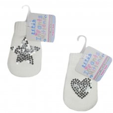 BM06-W: White Mittens w/Star/Heart Sequins (NB-12 Months)