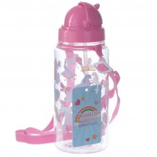 BOT09: 450ml Childrens Water Bottle with Straw & String - Unicorn