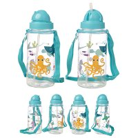 BOT29: 450ml Childrens Water Bottle with Straw & String- Sealife