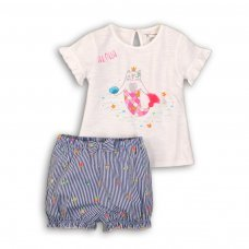 Botanical 1: 2 Piece T-Shirt & Ticking Stripe Short Set (0-12 Months)