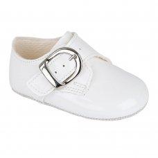 B656: Baby Boys Soft Soled Shoe- White (Shoe Sizes: 0-4)