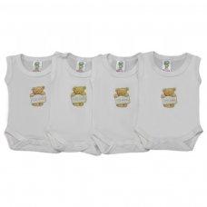 BS1CCM: Cream Cotton Motif Sleeveless Bodysuits