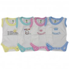 BS1CWM-N: Coloured Cotton Motif Sleeveless Bodysuits (NB-3 Months)