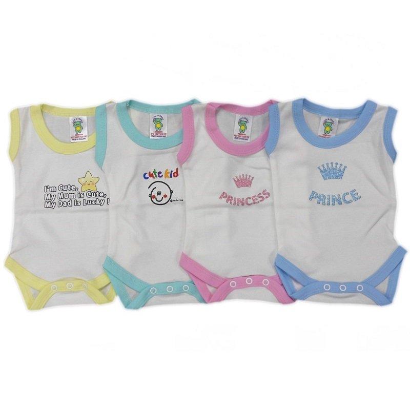 BS1CWM-N: Coloured Cotton Motif Sleeveless Bodysuits (NB-3 Months)