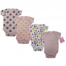 BS4655-3-6: Baby Girl Printed Short Sleeved Bodysuit (3-6 Months)