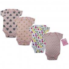 BS4655-NB-3: Baby Girl Printed Short Sleeved Bodysuit (NB-3 Months)