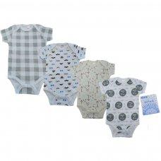 BS4657-3-6: Baby Boy Printed Short Sleeved Bodysuit (3-6 Months)