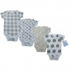 BS4657-NB-3: Baby Boy Printed Short Sleeved Bodysuit (NB-3 Months)