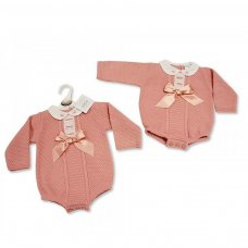BW-10-907: Knitted Baby Girls Romper (NB-9 Months)